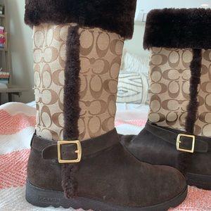 vintage fur coach boots